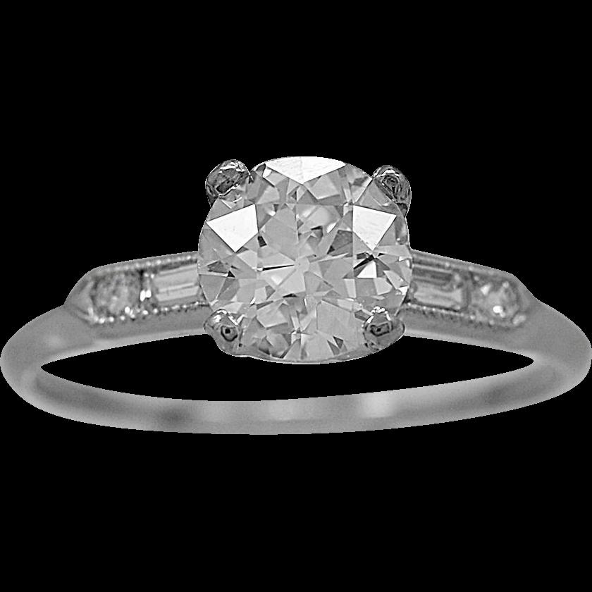 Antique Engagement Ring 1.09ct. Diamond & Platinum Art Deco - J35823
