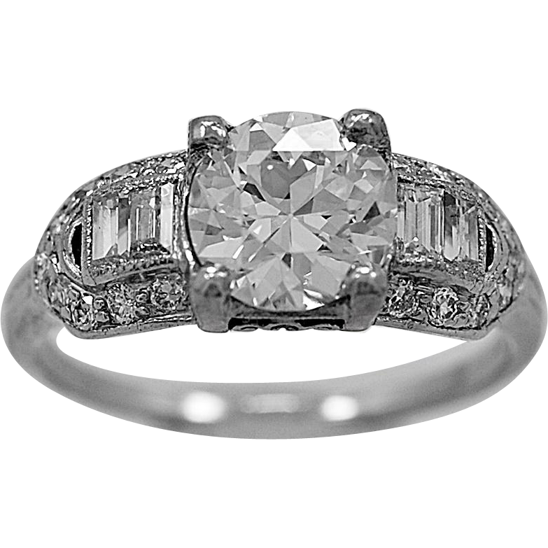 Antique Engagement Ring 1.12ct. Diamond & Platinum Art Deco - J35824