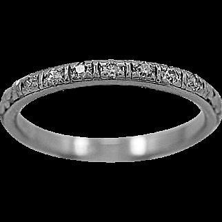 Antique Wedding Band .11ct. T.W. Diamond & Platinum Art Deco - J35828