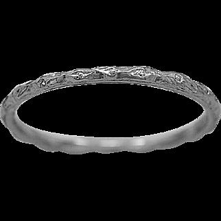 Antique Wedding Band Engraved Platinum Art Deco - J35829