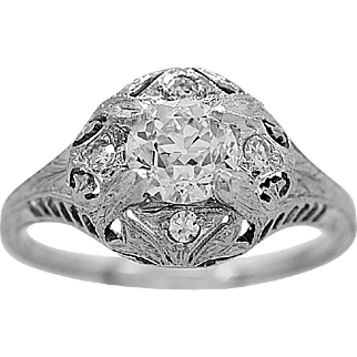 Antique Engagement Ring .66ct. Diamond & 18K White Gold Art Deco - J35830