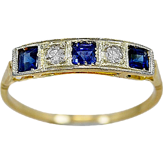 Antique Wedding Band .30ct. T.W. Sapphire, Diamond, Platinum & Yellow Gold - J35833