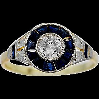 Antique Engagement Ring .25ct. Diamond, Sapphire, Platinum & Gold - J35844