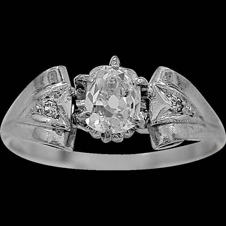 Antique Engagement Ring .45ct. Diamond & 18K White Gold Art Deco - J35851