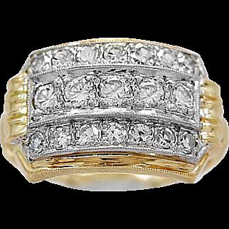 Antique Fashion Ring .50ct. T.W. Diamond, Palladium & Yellow Gold - J35854