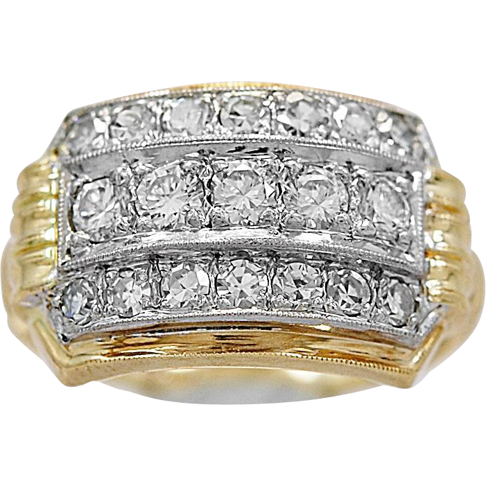 Antique Fashion Ring .50ct. T.W. Diamond, Palladium & Yellow Gold - J35854