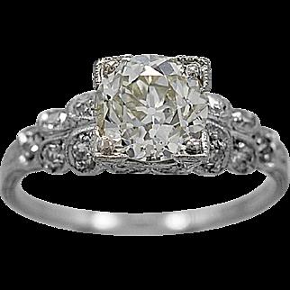Antique Engagement Ring 1.35ct. Diamond & Platinum Art Deco - J35864