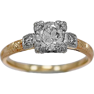 Antique Engagement Ring .75ct. Diamond & Rose Gold Art Deco - J35866
