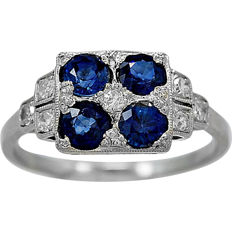 Antique Engagement Ring 1.25ct. T.W. Sapphire & Platinum Art Deco - J35870