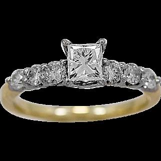 Estate Engagement Ring .53ct. Diamond, White & Yellow Gold - J35872