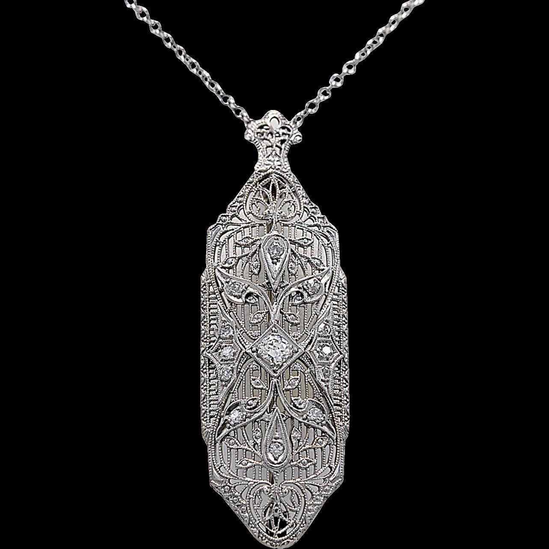 Antique Brooch .35ct. T.W. Diamond, Platinum & White Gold Chain - J35889