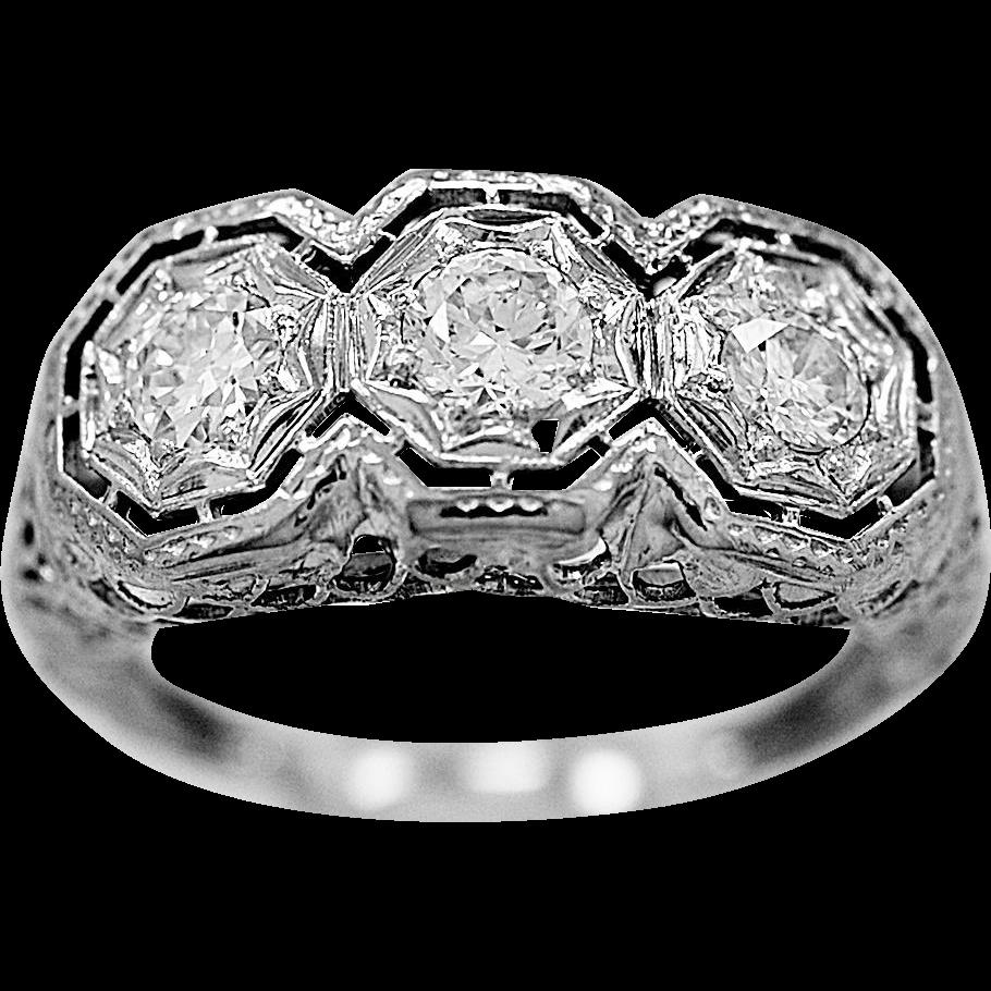 Antique Engagement Ring .65ct. T.W. Diamond & White Gold Art Deco - J35890
