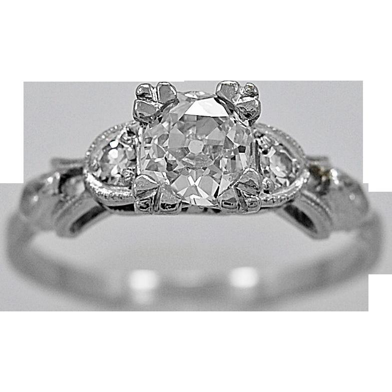 Antique Engagement Ring .50ct. Diamond & Platinum Art Deco - J35923