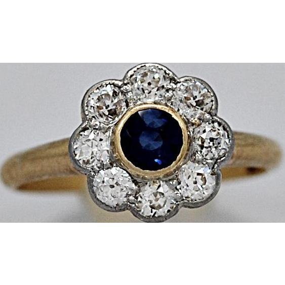Art Deco Diamond & Sapphire Fashion Ring 18K White Yellow Gold - J36301