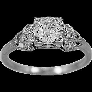 Antique Engagement Ring .70ct. Diamond & Platinum Art Deco - J35938