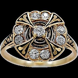 Antique Engagement Ring .60ct. T.W. Diamond, Enamel & Yellow Gold - J35959
