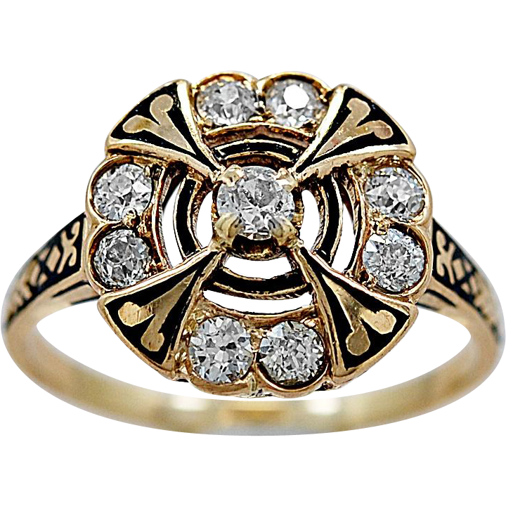 Antique Engagement Ring .60ct. T.W. Diamond, Enamel & Yellow Gold - J35959