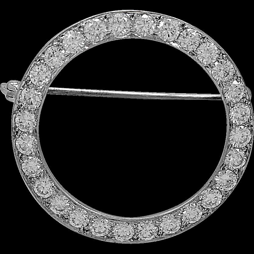 Estate Brooch Diamond & Platinum Circle Pin c.1960's - J35962