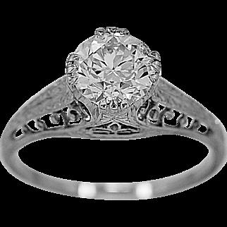 Antique Engagement Ring 1.12ct. Diamond & Platinum Art Deco - J35971