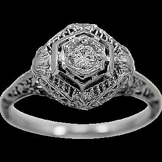 Antique Engagement Ring .10ct. Diamond & 18K White Gold Art Deco - J35976