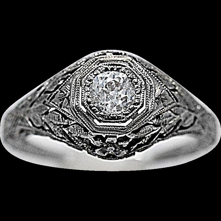 Art Deco Antique Engagement Ring .33ct. Diamond & 18K White Gold Barth Company - J35978