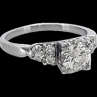 Art Deco .83ct. Diamond Antique Engagement Ring 18k White Gold