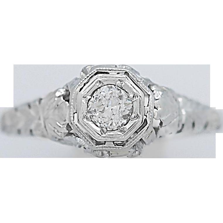 Art Deco Antique Engagement Ring .20ct. Diamond 18K White Gold