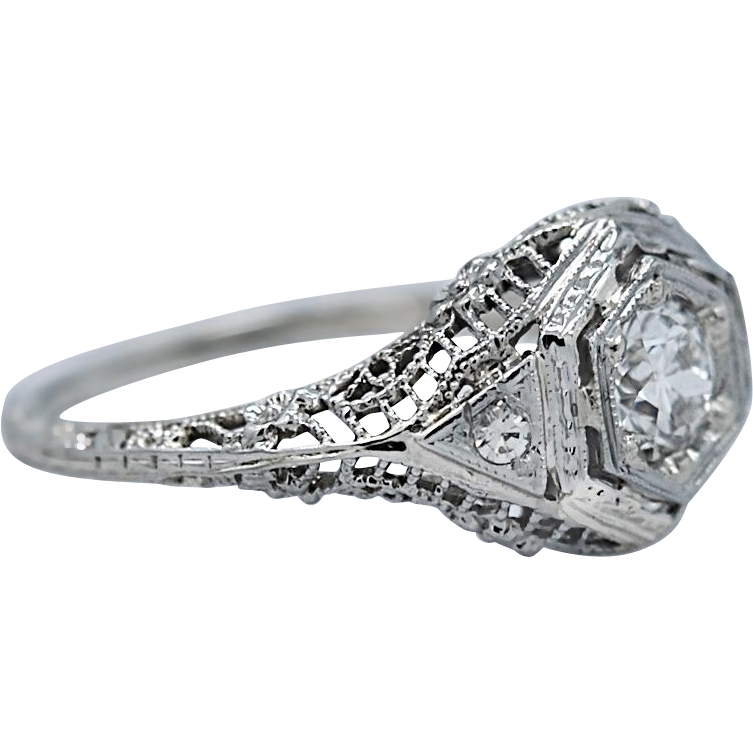 Art Deco .50ct. Diamond Antique Engagement Ring 18K White Gold