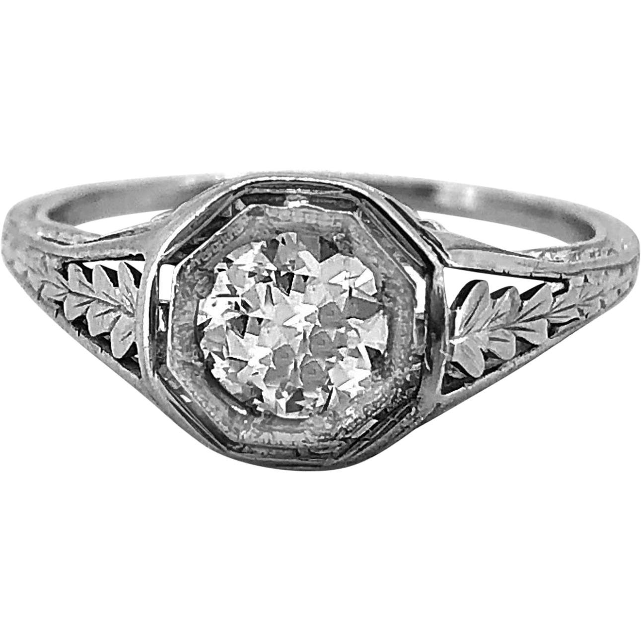 Antique Engagement Ring .50ct. Diamond & 18K White Gold Art Deco - J35984