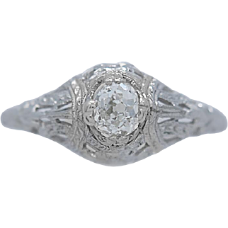 Art Deco Antique Engagement Ring .33ct. Diamond 18k White Gold