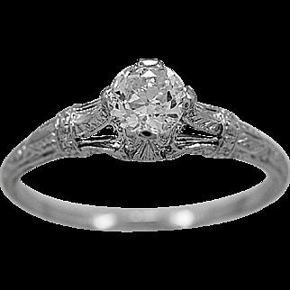 Antique Engagement Ring .55ct. Diamond & Platinum Art Deco - J35988