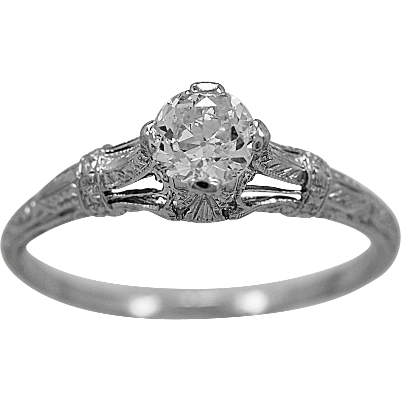 Antique Engagement Ring .55ct. Diamond & Platinum Art Deco - J35988