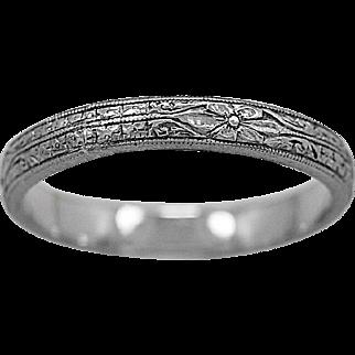 Antique Wedding Band Engraved Platinum Art Deco - J35990