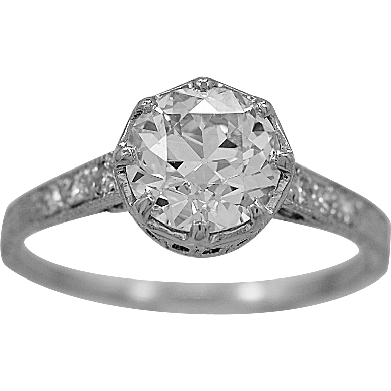 Antique Engagement Ring 1.53ct. Diamond & Platinum Art Deco - J36005