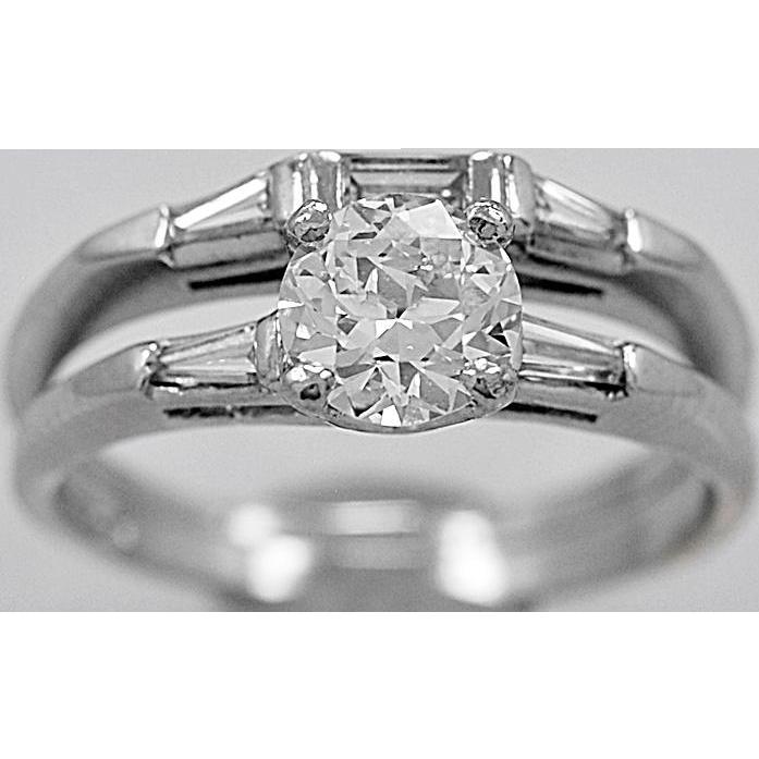 Antique Engagement Ring Set .76ct. Diamond & Platinum Art Deco - J36010