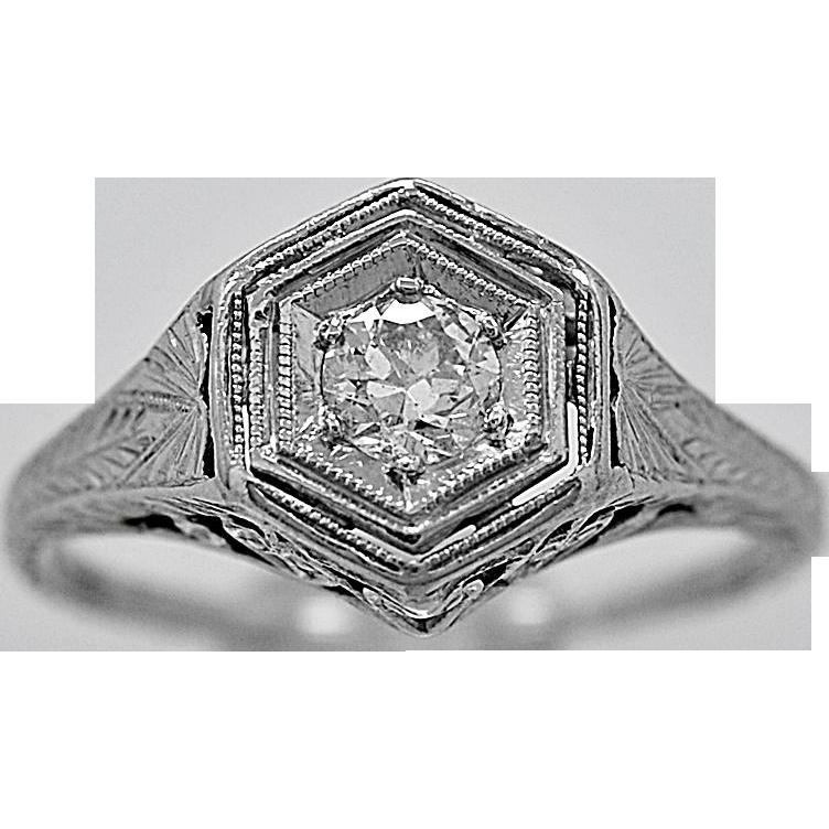 Antique Engagement Ring .20ct. Diamond & Platinum Art Deco - J36011