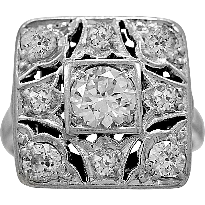 Antique Engagement Ring .50ct. Diamond & Platinum Art Deco - J36013