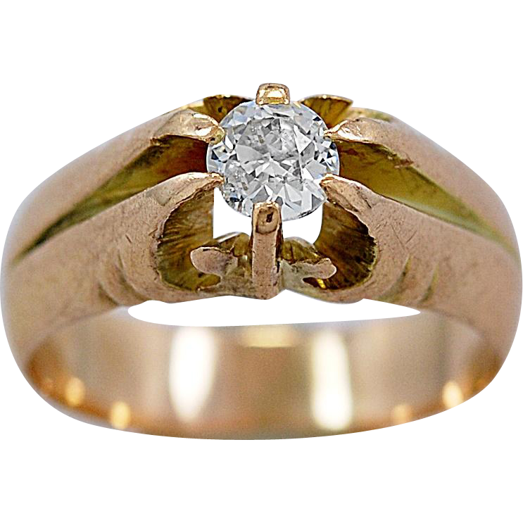 Antique Engagement Ring .33ct. Diamond & Yellow Gold Edwardian - J36022