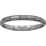 Antique Wedding Band Engraved 18K White Gold Art Deco - J36024