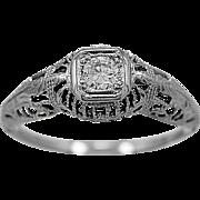 Antique Engagement Ring .17ct. Diamond & 18K White Gold Art Deco - J36034