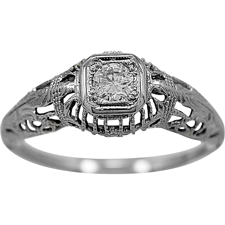 Antique Engagement Ring .17ct. Diamond & 18K White Gold Art Deco - J36034