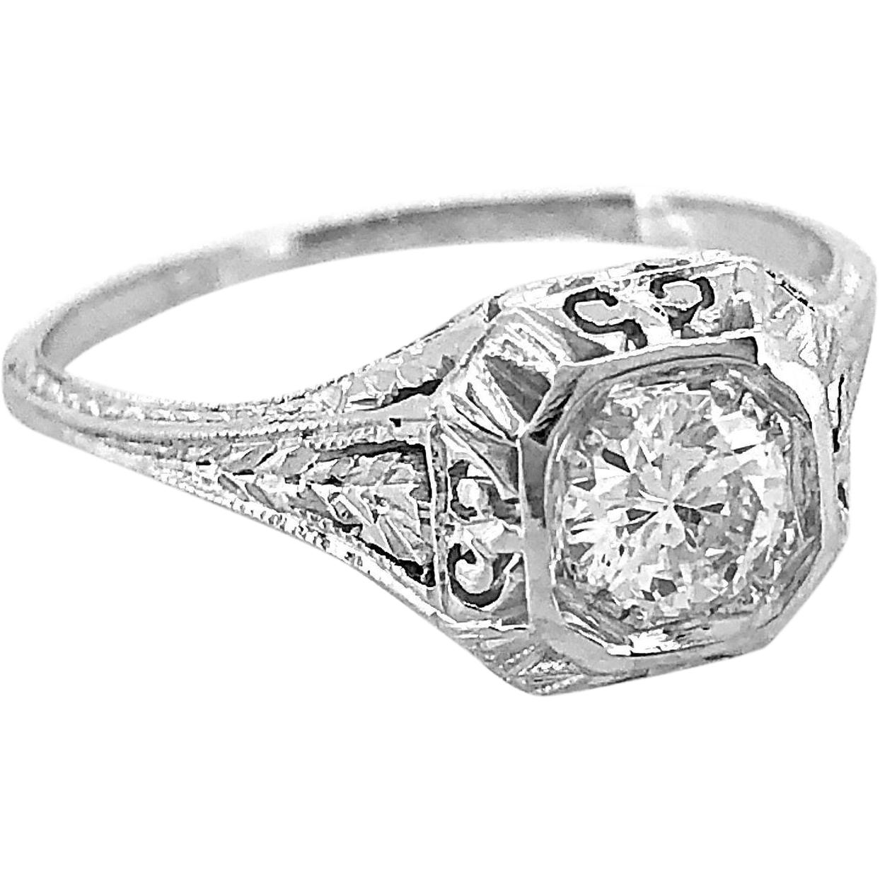 Antique Engagement Ring .53ct. Diamond & 18K White Gold EGL Cert