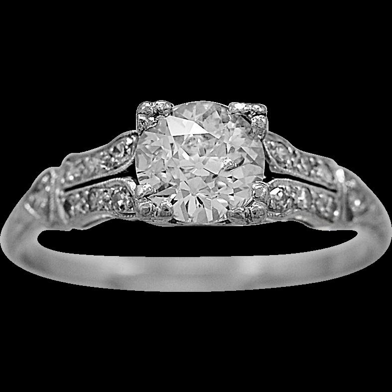 Antique Engagement Ring .85ct. Diamond & Platinum Art Deco - J36041
