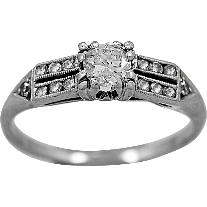 Antique Engagement Ring .22ct. Diamond & Platinum Art Deco - J36047