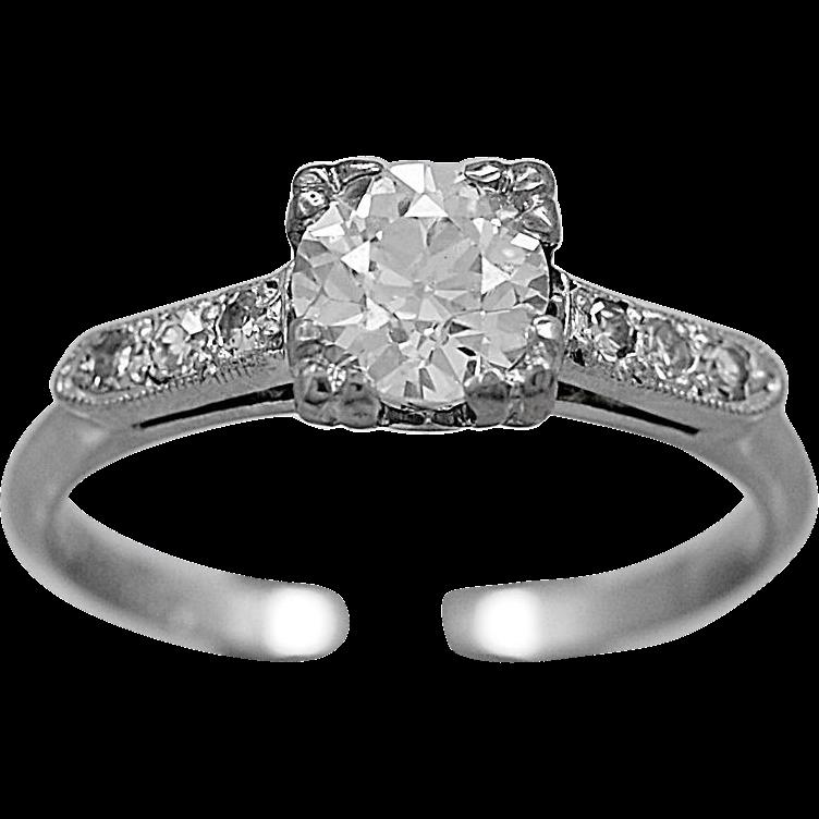Antique Engagement Ring .62ct. Diamond & Platinum Art Deco - J36049