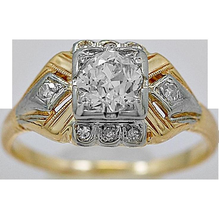 Antique Engagement Ring .52ct. Diamond & Gold Art Deco - J36050