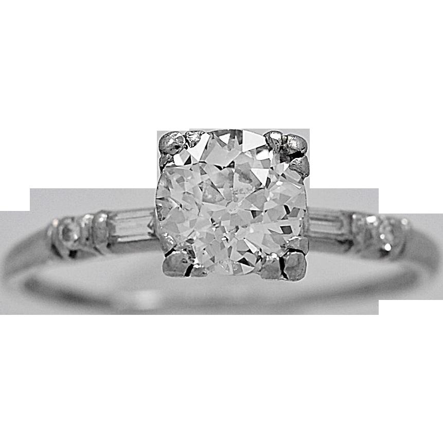 Antique Engagement Ring .93ct. Diamond & Platinum Art Deco - J36055