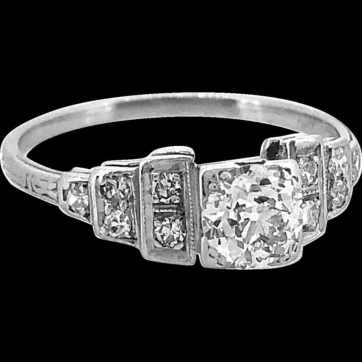 Antique Engagement Ring .50ct. Diamond & Platinum Art Deco - J36056
