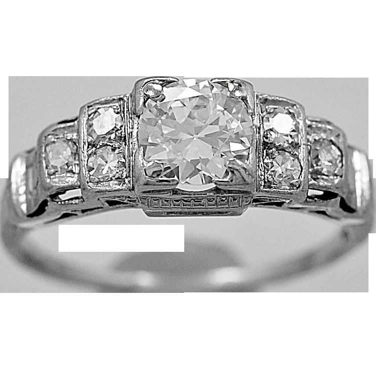 Antique Engagement Ring .55ct. Diamond & Platinum Art Deco - J36058