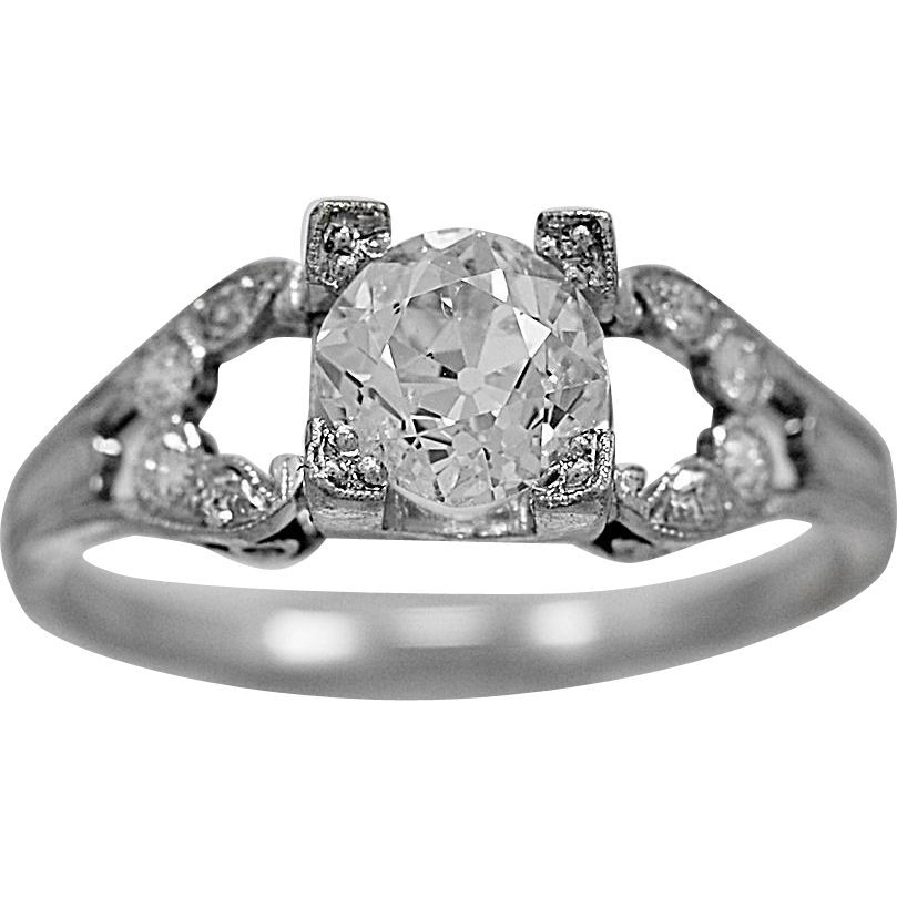 Antique Engagement Ring 1.10ct. Diamond & Platinum Art Deco - J36059